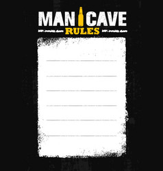Man cave rules creative poster design concept vector