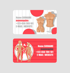 mannequins shop set business cards vector image