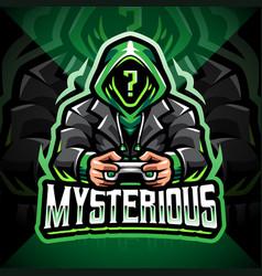 Mysterious gamer esport mascot logo design vector
