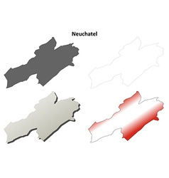 Neuchatel blank detailed outline map set vector