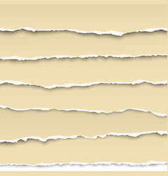 Oblong layers of torn white papers isolated vector