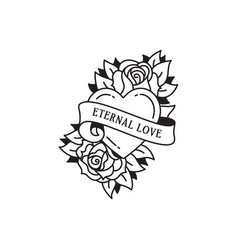 Old school tattoo emblem label with rose heart vector