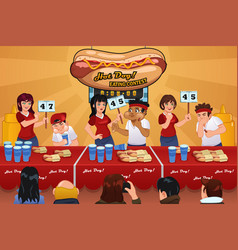 People in hotdog eating contest vector