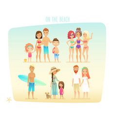 People on the beach vector