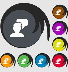 People talking icon sign Symbols on eight colored vector
