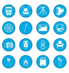 Photography set icon blue vector