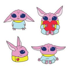 pink alien character vector image