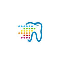 pixel art dental logo icon design vector image