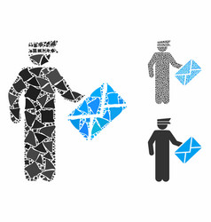 postman mosaic icon rugged items vector image