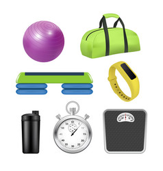 Realistic fitness icon set vector