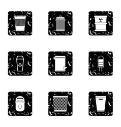 Rubbish bin icons set grunge style vector