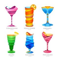 Set of 3D cocktails design vector