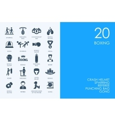 Set of BLUE HAMSTER Library boxing icons vector image