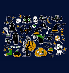set of halloween element patches pumpkin vector image