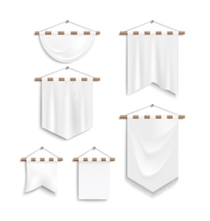 Set of realistic white textile banners vector image