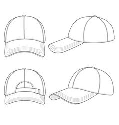 set of with a baseball cap vector image