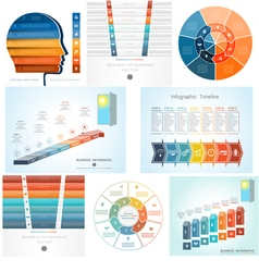 Set Templates Infographics positions 7 vector image