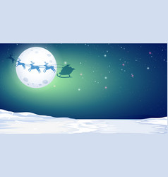 silhouette deer and santa in winter night vector image
