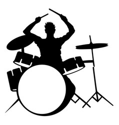 Silhouette of drummer playing drums on white vector