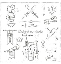 Sketch knight symbols and elements set vector