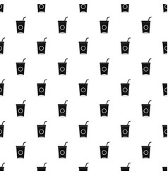 Soft drink in paper cup pattern vector