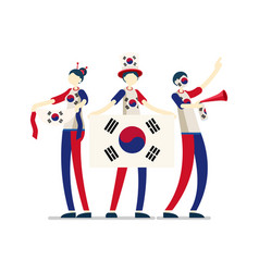 south korean flag korea people vector image