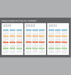 Spanish calendar 2019-2020-2021 template vector