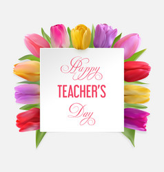 teachers day card with tulips vector image