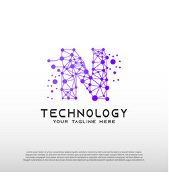 Technology logo with initial n letter network vector