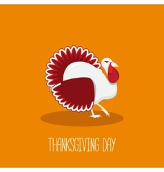 Thanksgiving card with bright turkey in fla style vector