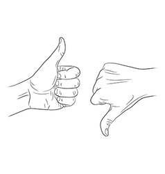 Thumb up thumb down outline contour vector