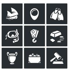 Treasure hunt icons set vector image