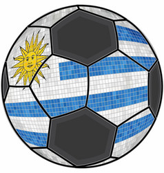 Uruguay flag with soccer ball background vector