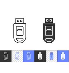 usb flash simple black line icon vector image
