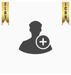 User profile sign web icon with plus glyph vector