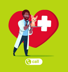 Veterinarian doctor hold dog over heart shape vector