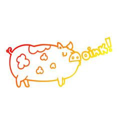 Warm gradient line drawing cartoon oinking pig vector