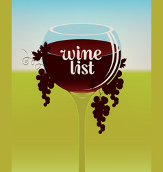 Wine list with a full glass a red wine vector