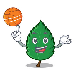 With basketball mint leaves character cartoon vector