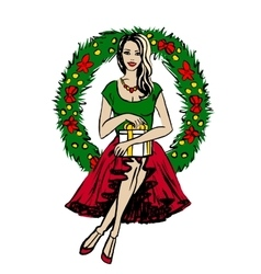 woman with Christmas wreath vector image
