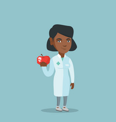 Young african nutritionist offering an apple vector