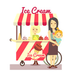 Young girl sells ice cream and mother with baby vector