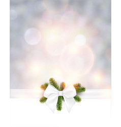 christmas background with white bow vector image vector image