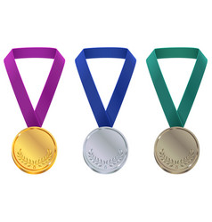gold silver and bronze medal at winter olympic vector image