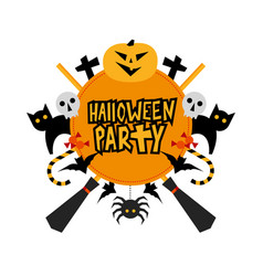 halloween party sign vector image