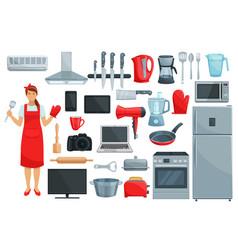 home appliances kitchenware kitchen utencils set vector image