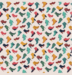 seamless pattern with different types of shoes in vector image