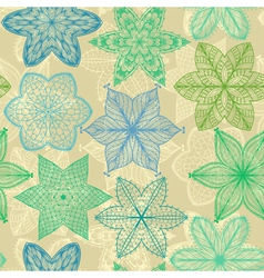 Seamless vintage green hand drawn pattern vector image