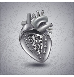 Steam punk metal heart with gears vector image