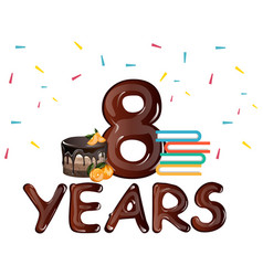 8th anniversary celebration with gift cake vector image vector image